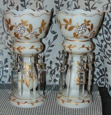 LARGE! ANTIQUE VICTORIAN White Satin Glass LUSTERS Candlestick Holders GOLD