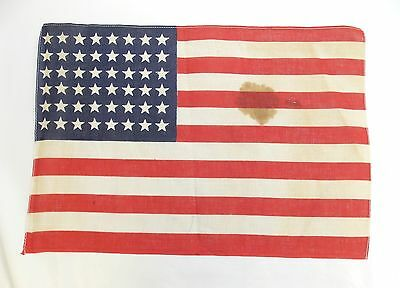 """Antique US FLAG 48 Star Small WWII Era Correct 11 7/8 X 17 1/4"""" (Stains) 0313-19"""