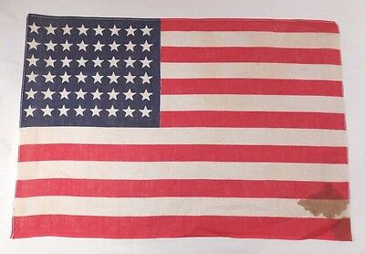 """Vintage US FLAG 48 Star Small WWII ERA Antique 12"""" x 17"""" (Stains & Holes) 0115-5"""