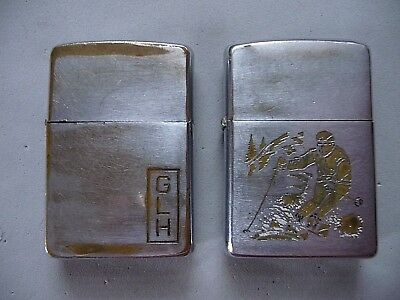 Lot of 2 vintage Zippo lighters 1963 & 1972 Skier