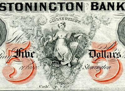 HGR FRIDAY 1860's $5 Stonington, CT ((Phenomenal Artwork)) GEM UNCIRCULATED