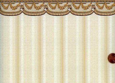 Dollhouse Wallpaper / 3 Sheets of Tara / Beige and Rust in border 211D23