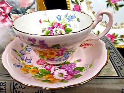 Foley Tea Cup And Saucer Flroal Rose Wildflowers Pink Teacup Pattern