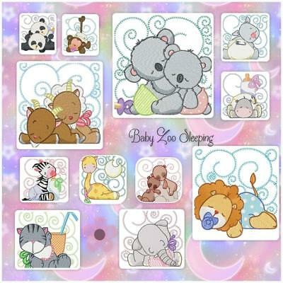 Baby Zoo Animals Sleeping  12 Machine Embroidery Designs Cd