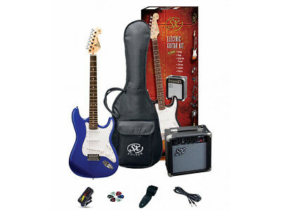 ESSEX Electric Guitar Pack Electric Blue Includes Amp, Gig Bag, Tuner Picks S...