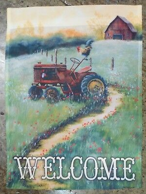 """""""WELCOME"""" Antique Red Farm Tractor, Barn, Rooster, Spring / Summer HOUSE flag"""