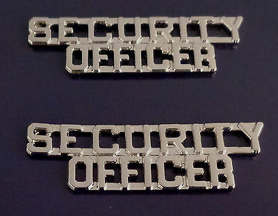 "SECURITY OFFICER collar/lapel pins 1/4"" Silver/Nickel"