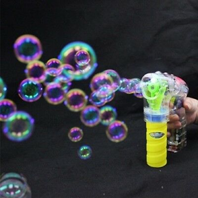 10X Funny Electric Flashing Bubble Gun With Sound