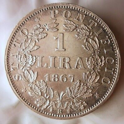 1867 PAPAL STATES (VATICAN) LIRA - High Quality and Value Silver Coin - Lot #F17