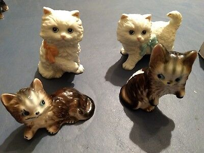 Lot of 4 Vintage Cat Figurines Persian & Tabby 2 Homco No Damage