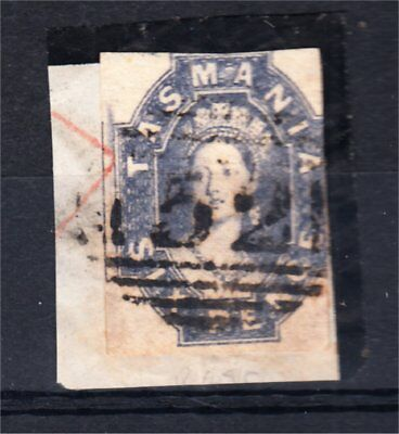 TASMANIA 6d GREY-BLUE IMPERFORATE CHALON USED  ON PIECE (G67)