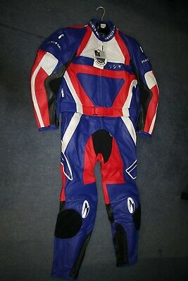 Mens Richa 2 Piece Purple Red Black White Leather Motorcycle Suit