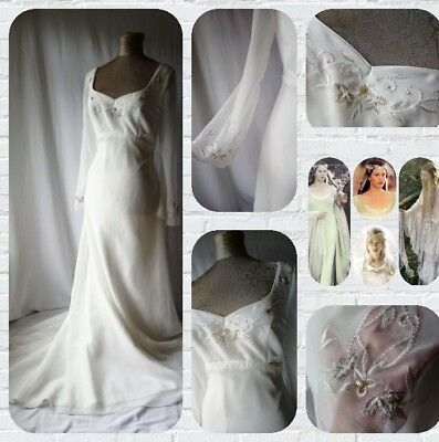 HILARY MORGAN medieval Elven ethereal angel flute chiffon wedding gown 14 16