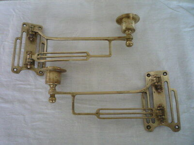 Pair Antique Vintage Art Deco Solid Brass Candlestick Holder Wall Sconce Piano