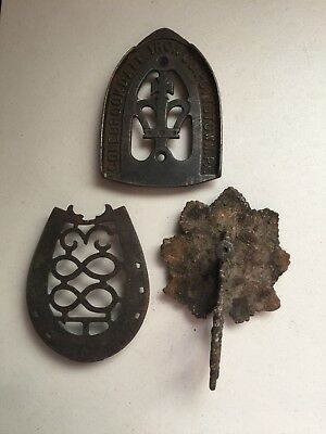 Lot Of 3 Cast Iron Vintage Iron Trivets Colebrookdale Iron Company Pottstown