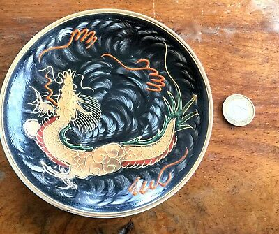 "Ravissante Coupelle/ Ceramique/decor ""dragon""/ Japon/ Annees 1920"