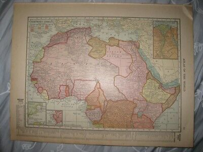 Antique 1915 North Northern & South Southern Africa Map Ascension Island Cape Nr