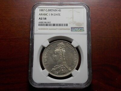 1887 Great Britain Double Florin large silver coin NGC AU-58