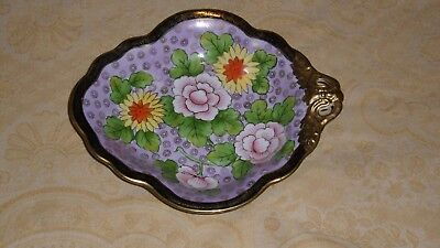 "Vintage Noritake Morimura Hand Painted Flowered Black & Gold Trim 9"" Candy Dish"