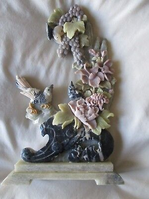 Vintage Chinese Carved Soapstone Marble Ornament Birds Flowers Nicely Detailed