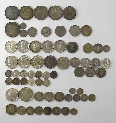 Mixed World Silver Coin Lot - NO RESERVE US Canada France Spain Venezuela
