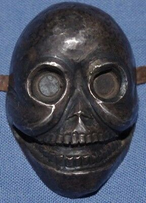 VERY RARE ANTIQUE 19th CENTURY TIBETAN SILVER SKULL MASK CITIPATI DURDAK BUDDHA