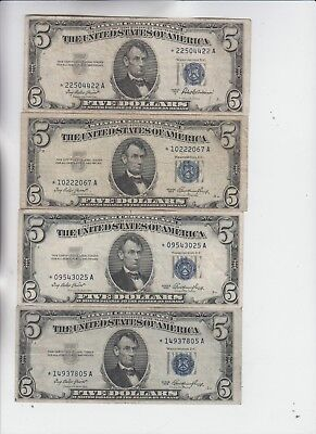 Silver Certificate $5 1953's STAR 4 notes  vg-vf