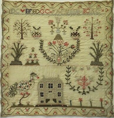 EARLY 19TH CENTURY HOUSE, PEACOCK & MOTIF SAMPLER INTIALLED ID/GC etc - 1810