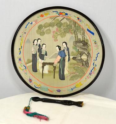 Antique round hand painted embroidered 2 sided lacquer Chinese hand fan