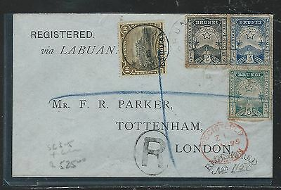 Brunei  (P2109B) Local Issue 2C+3C+5C+ Labuan 18C Reg 1895 To England