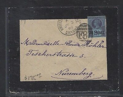 British Levant Offices In Turkey (P1410B) Qv 40Pa 1896 Mourning Cover To Germany