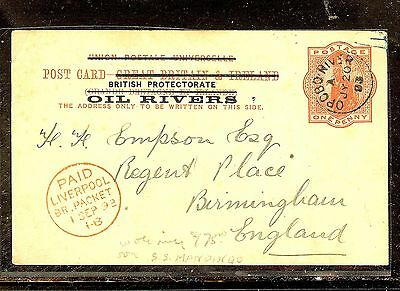 Niger Coast Proctectorate  (P1012B) 1893 Psc Opobo River Ss Mandingo With Msg