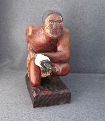 Antique early 20th century carved wood figure of a Maori Warrior New Zealand