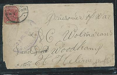 St Helena (P3006B) 1901 Incoming Fro Transvaal Boer War Cover To Pow Deadwood Ca