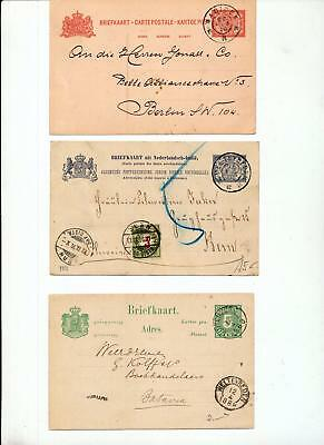 Netherlands Indies OLD Stationery Cards Used x4 Swiss Postage Due (you 879)