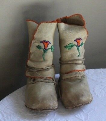 Vintage Mid 20thC Native Iroquois Children Beaded Leather Ankle Wrap Moccasins