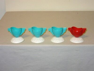4 Vintage Easter Plastic Chicken Egg Cup Decoration turquoise & red