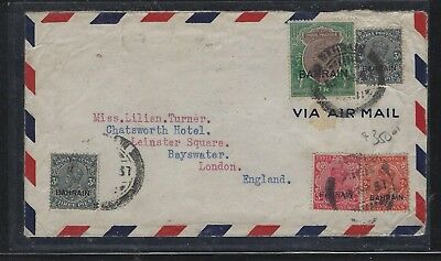 Bahrain (P0102Bb)  On India 1937 Kgvi 1R+3Px2+3Ax2 A/m To England