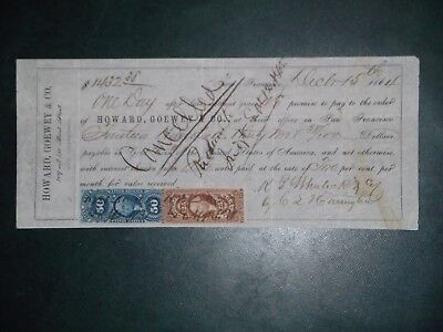 Promissory note. Dec. 15, 1864. San Francisco. Howard, Goewey & Co.