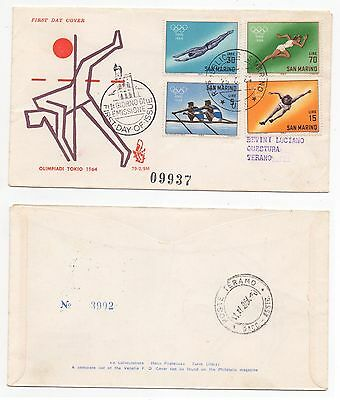 1964 SAN MARINO First Day Cover OLYMPICS TOKYO JAPAN Numbered