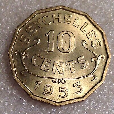 Seychelles 10 Cents 1953 Nickel-Brass High Grade!