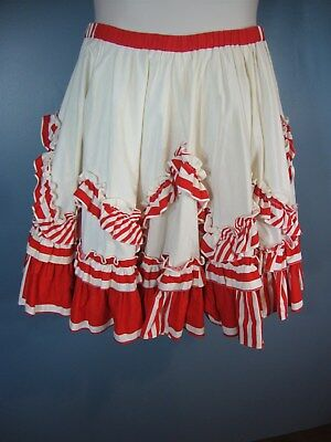 """Vintage Square Dance Red & Ivory Striped Ruffled Skirt 31"""" Waist"""