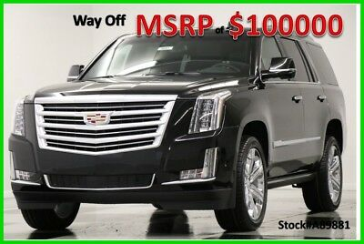 2018 Cadillac Escalade MSRP$100000 4WD Platinum DVD GPS Sunroof Black 4X4 New Navigation Heated Cooled Leather Player 22 In Chrome Rims Camera CUE 17 2017