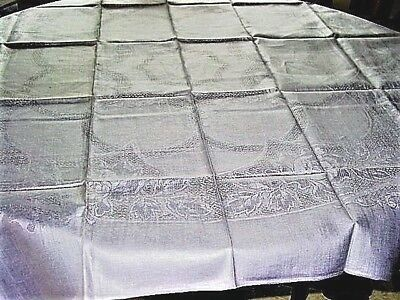 """Vtg.LinenTablecloth Roses, Silver Gray  Never Used!48x52""""DrawnThread Design"""