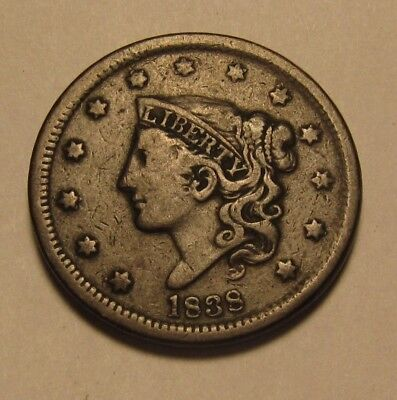 1838 Coronet Head Large Cent Penny - Very to Extra Fine Condition - 47SA