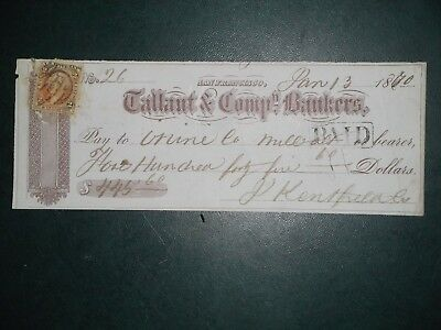 Tallant & Company, Bankers. Jan. 13, 1870. San Francisco Ca.