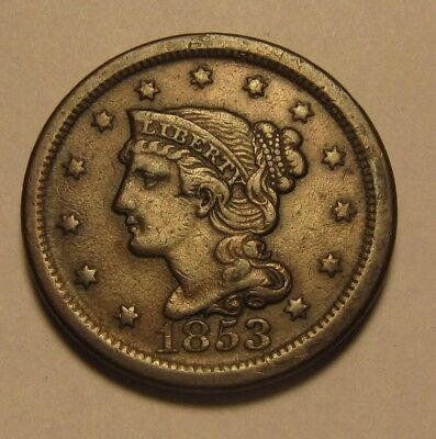 1853 Braided Hair Large Cent Penny - Extra Fine to AU Condition - 54SA