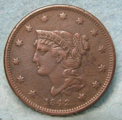 1842 Small Date Braided Hair Head Large Cent VF Details * US Coin *