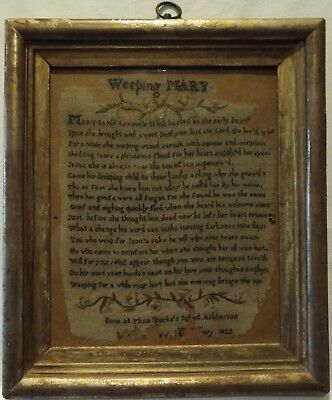 """Small Early 19Th Century """"weeping Mary"""" Verse Sampler. Miss Sparke's School 1822"""