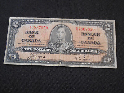 1937 Bank of Canada $2 Canadian Money - Very Good Condition - Coyne/Towers